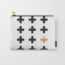 Black & Gold Swiss Cross Pattern Carry-All Pouch