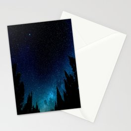 Black Trees Turquoise Milky Way Stars Stationery Cards