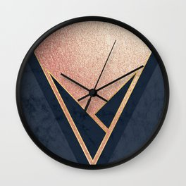 Rose Gold and Navy Wall Clock
