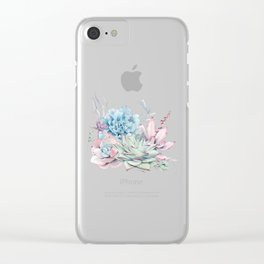 Pretty Pastel Succulents Clear iPhone Case