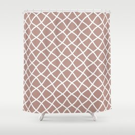 Neutral beige and white curved grid pattern Shower Curtain