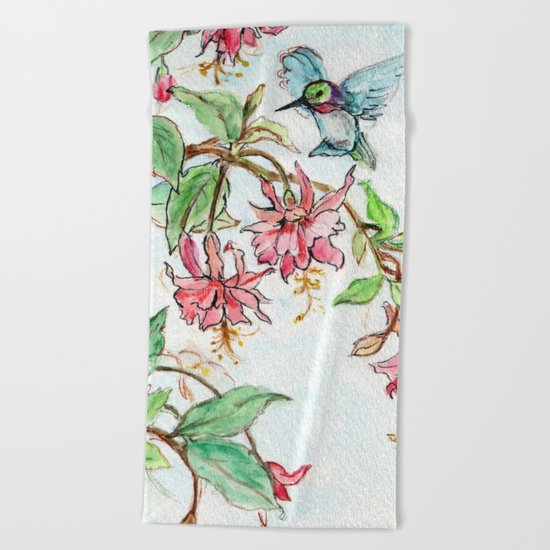 Honeysuckle Hummingbird Beach Towel