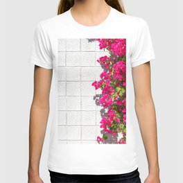 Bougainvilleas and White Brick Wall in Palm Springs, California T-shirt