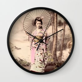 Japanese girl with parasol Wall Clock