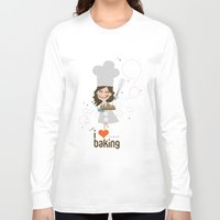 baking Long Sleeve T-shirts featuring Baking MaMa by inkdesigner