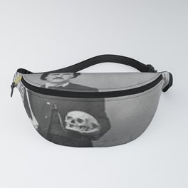 Edgar Allan Poe with Skull and Skeleton macabre black and white photograph Fanny Pack
