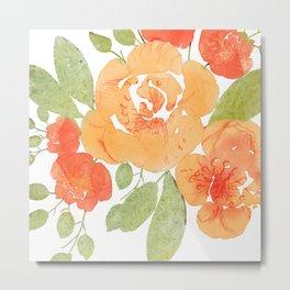 Peachy Keen Floral II Metal Print