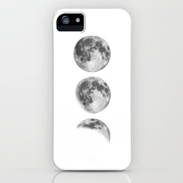 Full Moon cycle black-white photography print new lunar eclipse poster bedroom home wall decor iPhone Case
