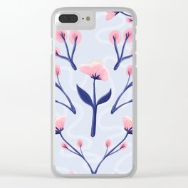 Mod Icy Pink Flowers Clear iPhone Case