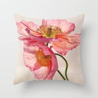 jazzberry Throw Pillows featuring Like Light through Silk - peach / pink translucent poppy floral by micklyn