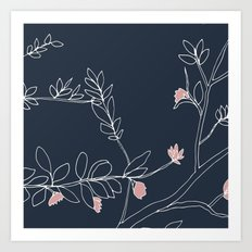 Flora, White and Pink on Navy Blue Art Print