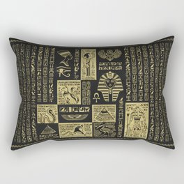 Egyptian  hieroglyphs and symbols gold on black leather Rectangular Pillow