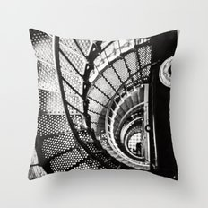 Spiral staircase black and white Throw Pillow