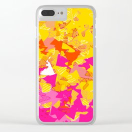Neon Leaves Clear iPhone Case