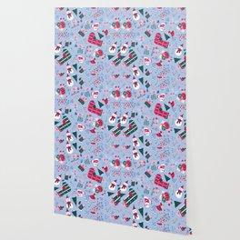 Christmas Birdies - Blue Wallpaper