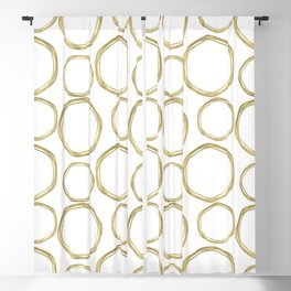White & Gold Circles Blackout Curtain