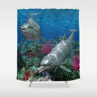 dolphins Shower Curtains featuring Dolphins by Simone Gatterwe