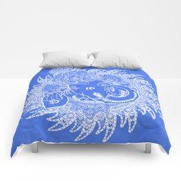 Ganesha Lineart Blue White Comforters