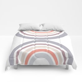 Modern Double Rainbow Hourglass in Muted Earth Tones Comforters