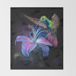 The Stargazer and The Hummingbird Throw Blanket
