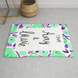 Amy and Laurie Rose Pattern - Mint Green and Purple Palette Rug