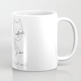 EAT WELL CAT  Coffee Mug