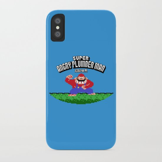 Super Angry Plumber Man iPhone Case