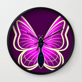 Abstract neon pink yellow white butterfly on a dark pink background Wall Clock