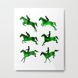 Watercolor Showjumping Horses (Green) Metal Print