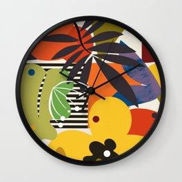 mid century minimal plant leaves Wall Clock