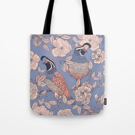 Quail and Wild Roses Tote Bag