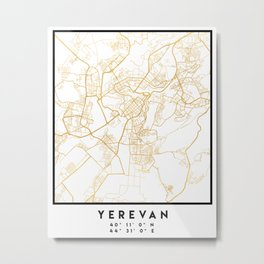 YEREVAN ARMENIA CITY STREET MAP ART Metal Print