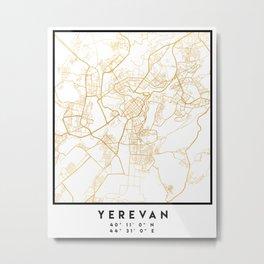 YEREVAN ARMENIA CITY STREET MAP ART Metal Print