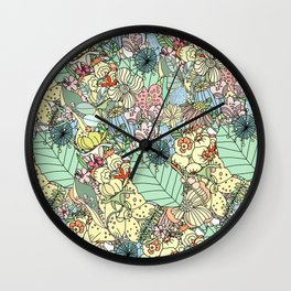 Muted In Bloom Wall Clock