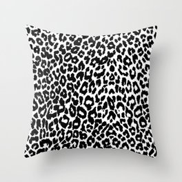 Leopard Pattern (Black and White) Throw Pillow