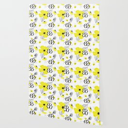 Yellow and Black Drawn Flowers Wallpaper