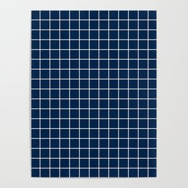 Oxford blue - blue color - White Lines Grid Pattern Poster