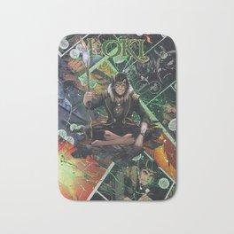 Loki God of Mischief Comic Art Collage Bath Mat