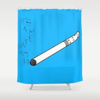 tfios Shower Curtains featuring TFIOS It's a Metaphor Smoke by All Things M