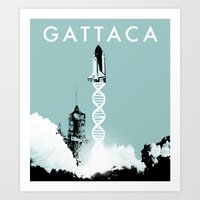 movie poster Art Prints featuring Gattaca - Movie Poster by Joel Amat Güell