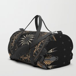Buffalo Skull and Feathers (Brown) Duffle Bag