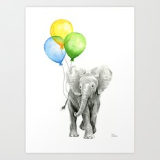 Elephant Watercolor Baby Animal with Balloons - Blue Yellow Green Art Print