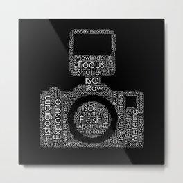 Photography Word Cloud Camera Shape Metal Print