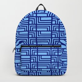 Blue Ocean Pattern | Sea | Geometric | Greece Inspired | Square Shapes | Art Deco | For Him Backpack
