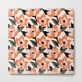Bold orange poppy on a soft pink base Metal Print
