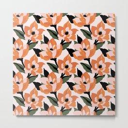 Bold orange poppy on a soft pink base Metal Print