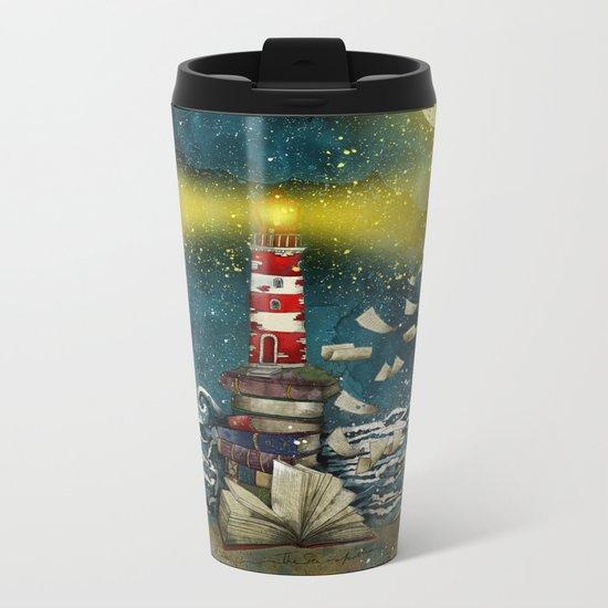 the sea is poetry Metal Travel Mug