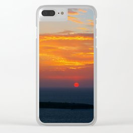 Sunset in Oia Santorini cv Clear iPhone Case