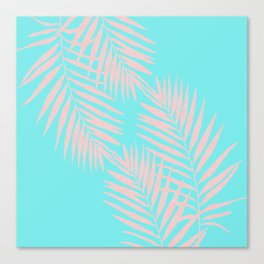 Abstract modern pink Tropical Exotic Palm Leaves on aqua Canvas Print