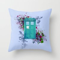 doctor who Throw Pillows featuring Doctor Who by Laain Studios